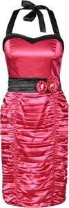 Różowa sukienka Fokus midi z satyny z kołnierzykiem