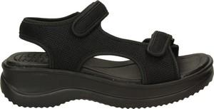Czarne sandały Azaleia na platformie na rzepy w sportowym stylu