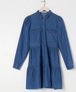 Niebieska sukienka Sinsay w stylu casual koszulowa