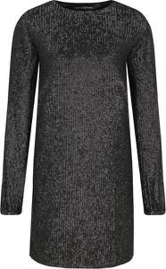 Czarna sukienka Guess Jeans z okrągłym dekoltem mini