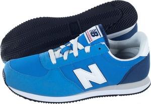 Niebieskie buty sportowe New Balance sznurowane ze skóry ekologicznej z płaską podeszwą