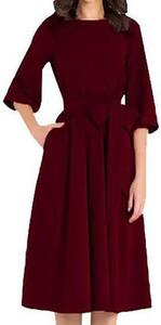 Czerwona sukienka Cikelly z okrągłym dekoltem z długim rękawem