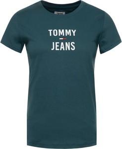 Zielony t-shirt Tommy Jeans w stylu casual z okrągłym dekoltem