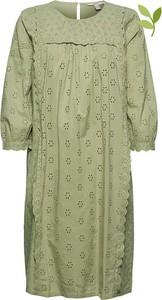 Zielona sukienka Esprit z długim rękawem w stylu casual z bawełny