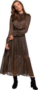 Brązowa sukienka Style z tkaniny z okrągłym dekoltem z długim rękawem