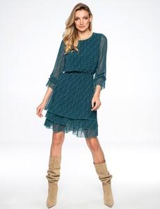 Granatowa sukienka L'AF z wełny z długim rękawem mini