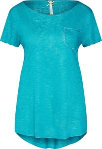 Turkusowa bluzka Key Largo w stylu casual z okrągłym dekoltem z krótkim rękawem