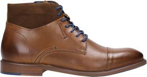 Brązowe buty zimowe Wojas ze skóry sznurowane