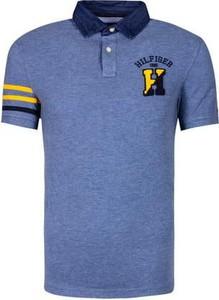 Niebieska koszulka polo Tommy Hilfiger z krótkim rękawem z bawełny