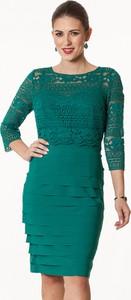 Zielona sukienka Semper z okrągłym dekoltem z długim rękawem