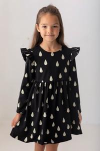 Czarna sukienka dziewczęca Myprincess / Lily Grey z bawełny w groszki