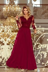 Czerwona sukienka NUMOCO rozkloszowana maxi z długim rękawem
