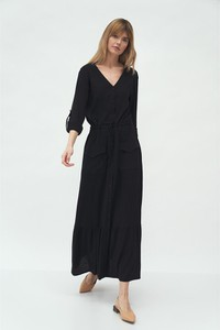 Czarna sukienka Nife z długim rękawem z dekoltem w kształcie litery v maxi
