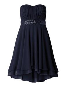 Granatowa sukienka Paradi gorsetowa z szyfonu
