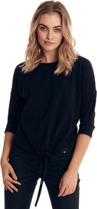 Czarna bluzka Badura w stylu casual z długim rękawem z bawełny