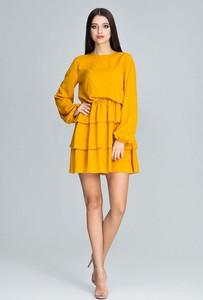Żółta sukienka Figl z okrągłym dekoltem