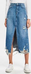 Niebieska spódnica Reserved z jeansu w street stylu