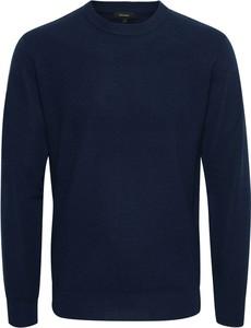 Niebieski sweter Matinique z okrągłym dekoltem z wełny