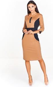 Brązowa sukienka Fokus z okrągłym dekoltem dopasowana midi