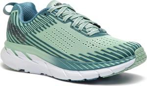 Zielone buty sportowe Hoka one one w sportowym stylu sznurowane