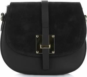 Czarna torebka Vera Pelle średnia na ramię z zamszu