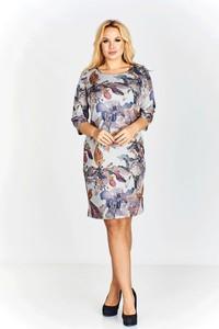 Sukienka Ptakmoda.com z okrągłym dekoltem w stylu casual z długim rękawem