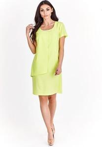 Zielona sukienka Fokus z okrągłym dekoltem midi z krótkim rękawem
