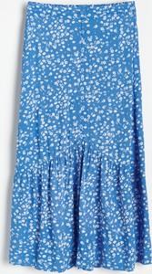 Niebieska spódnica Reserved midi w stylu casual