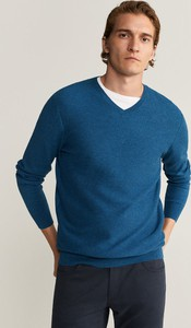 Niebieski sweter Mango Man z wełny w stylu casual