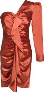 Pomarańczowa sukienka The Dot Queen z żabotem z satyny