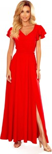 Czerwona sukienka Manumo z dekoltem w kształcie litery v z krótkim rękawem maxi