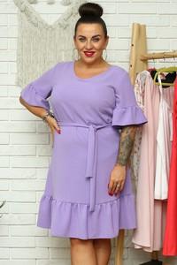 Sukienka KARKO z okrągłym dekoltem w stylu casual mini