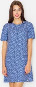 Niebieska sukienka Figl z żakardu z krótkim rękawem z okrągłym dekoltem