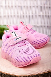 Różowe buty sportowe dziecięce Casu na rzepy