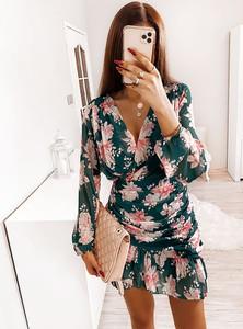 Sukienka Pakuten mini z długim rękawem z dekoltem w kształcie litery v