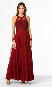 Czerwona sukienka Mascara bez rękawów rozkloszowana maxi