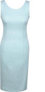 Niebieska sukienka Fokus w stylu klasycznym bez rękawów z okrągłym dekoltem