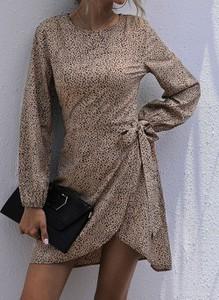 Brązowa sukienka Cikelly w stylu casual z długim rękawem