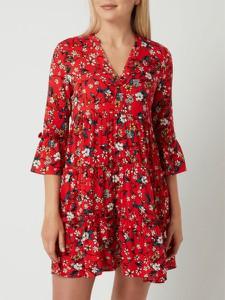 Czerwona sukienka Vero Moda z dekoltem w kształcie litery v mini