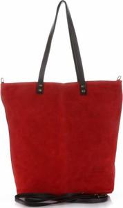 Torebki skórzane typu shopperbag firmy vera pelle czerwone