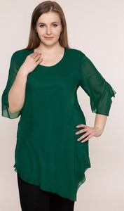 Zielona bluzka modneduzerozmiary.pl z długim rękawem z szyfonu