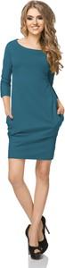 Niebieska sukienka sukienki.pl w sportowym stylu z okrągłym dekoltem
