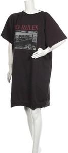 Czarna sukienka Set prosta w stylu casual z okrągłym dekoltem