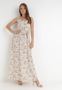 Sukienka born2be maxi z dekoltem w kształcie litery v trapezowa