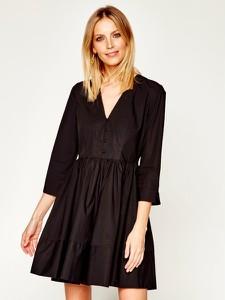 Czarna sukienka Twinset rozkloszowana z długim rękawem w stylu casual