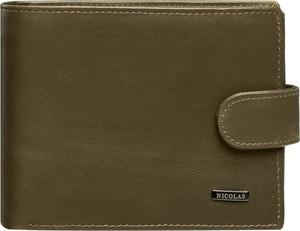 Zielony portfel męski Nicolas ze skóry na karty kredytowe