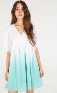 Niebieska sukienka Unisono z bawełny mini