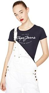 Granatowy t-shirt Pepe Jeans w młodzieżowym stylu