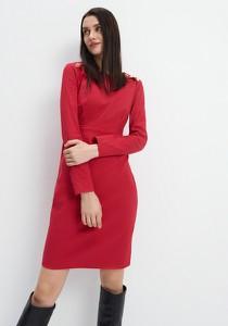 Czerwona sukienka Mohito z długim rękawem ołówkowa