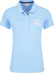 Niebieska bluzka Tommy Hilfiger z kołnierzykiem z krótkim rękawem